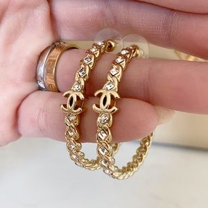 Auth CHANEL CC Gold Tone Hope Earrings With Stones